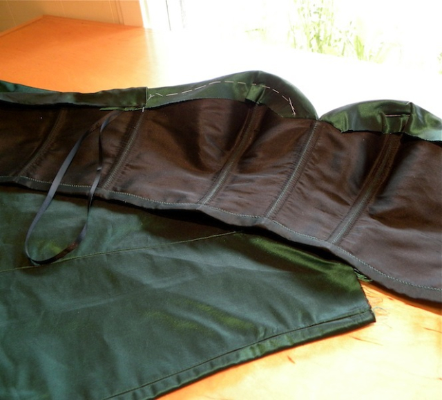 Emerald Silk Taffeta Gown in work....