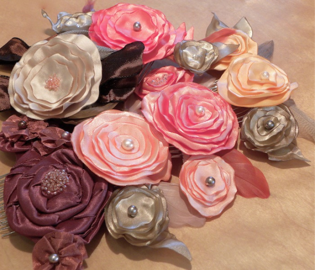 Ribbon Flower Hair Adornments