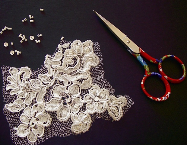 Beaded Lace Fascinator in work...