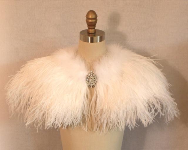 Ostrich & Marabou Wedding Capelet