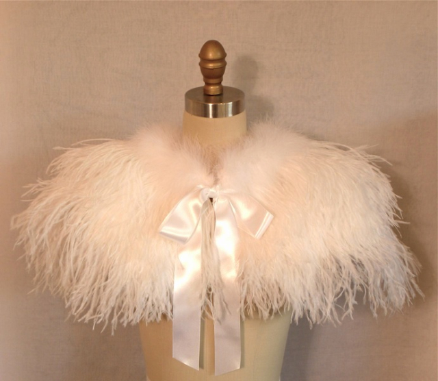 Ostrich & Marabou Wedding Capelet with Satin Tie